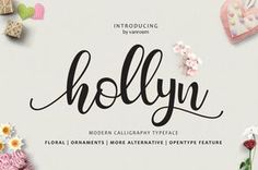 Hollyn Script is a new modern calligraphy Script fonts, combines from copperplate to contemporary typeface, classic and elegant touch. With extra bouncy curves & loops, ornament and floral font. Hollyn Script is guaranteed to make your text stand out - perfect for logos, printed quotes, invitations, cards, product packaging, headers and whatever your imagination holds.