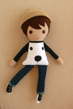 Fabric Doll Rag Doll Brown Haired Boy in White Puppy Face Shirt and Jeans