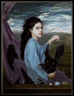 Love the theatrical framing, with a mauve curtain outdoors in nature, and that she's sewing up the healing bird. I'll sew up the holes in the fabric of nature, including leaves to trees, as well as one of the birds who often accompany Epona, who symbolise sexual love and fertility.