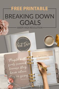 Goal setting form is designed to take a big harry boulder of a goal and break it up into rocks, pebbles, and sand. When it comes to breaking down goals the smaller, the better. Breaking down goals is not about how you live your life or run your business, Goals Planner, Planner Pages, Printable Planner, Happy Planner, Free Printables, Goals Printable, Schedule Printable, Planner Ideas, Life Planner