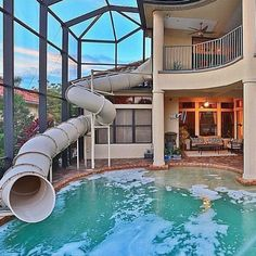 homes with huge water slides in their yard | ... future, hot, house, indoor, luxury, outside, pool, rich, slide, summer