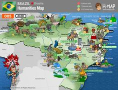 Brazil Unesco Map (19) / 0 Mixed site, 7 Natural site, 12 Cultural site