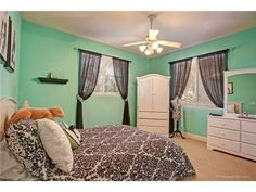 Tiffany inspired french teen room, Black and white accesories and bedding with Aqua colored walls for a teen girl, Girls' Rooms Design
