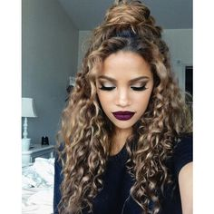 15 Incredibly Hot Hairstyles For Natural Curly Hair ❤ liked on Polyvore featuring beauty products, haircare, hair styling tools, hair and curly hair care