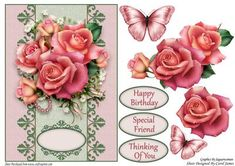 Card Front Downton Roses on Craftsuprint designed by Carol James - A cardfront with some decoupage pieces for that 3d effect. Can be used for lots of different occasions like Birthdays, Mother's Day, Best Wishes, Anniversaries, Thinking of You, Thanks, etc. 3 sentiment tags and one blank tag are included. Sentiments read:Happy BirthdaySpecial FriendThinking Of You - Now available for download!