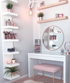 Perfte on Gorgeous pink and rose gold vanity inspiration for your Perfete home via ddelasoul. Cute Room Decor, Teen Room Decor, Target Room Decor, Spa Room Decor, Room Ideas Bedroom, Diy Bedroom Decor, Gold Bedroom, Modern Bedroom, Bedroom Ideas Rose Gold