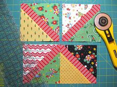 bitty bits & pieces: Charm Pack Quilt Tutorial, love this Mary Englebreit fabric! Quilting Tutorials, Quilting Projects, Quilting Designs, Sewing Projects, Quilting Tips, Art Quilting, Modern Quilting, Patchwork Quilting, Scrappy Quilts
