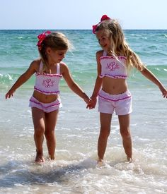 I love the monogrammed bathing suits some of my favorite trunk show lines carry, so I was thrilled when Sew Beautiful included a toddler . Future Daughter, Future Baby, Daughters, Cute Kids, Cute Babies, Beach Babies, Little Ones, Little Girls, Sweet Girls