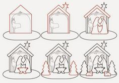 Gingerbread Nativity pattern and tutorial. Cookie Nativity Scene with Mary, Joseph and Baby Jesus in a stable Gingerbread House Template, Christmas Gingerbread House, Christmas Nativity, Christmas Cookies, Christmas Crafts, Gingerbread Houses, Gingerbread Decorations, Cookie House, Christmas Templates