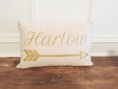 Hey, I found this really awesome Etsy listing at https://www.etsy.com/listing/208304762/name-and-arrow-pillow-cover-18x12