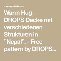 """Warm Hug - DROPS Decke mit verschiedenen Strukturen in """"Nepal"""". - Free pattern by DROPS Design"""