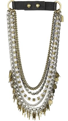 """If Talitha Getty and Marrakech had a love-child, this collar would be it. 14k gold + sterling silver-dipped brass genuine leather 18"""", adjustable to 19"""" push-post closure imported"""