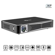 Portable Video Projector  Portable Projector  Mini Projector  Mobile Projector  Small Projector    TOUMEI V3 Smart Video Projector DLP 3D Home Theater WiFi Bluetooth Projector Portable Mini Office Projector Multi-screen Sharing Android HDMI-in USB TV TF-card SD Remote Control with Free 3D Glasses