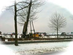 25 januari 2013   Eerst heipalen voor het maken van de kade.