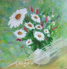 Daisies. Oil painting. Canvas. Size: 40x40x38cm by IraArtAshop