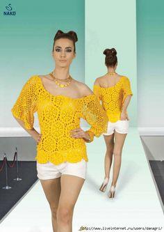 Scorzo Tricroche: Blusa maravilhosa em crochê com gráfico