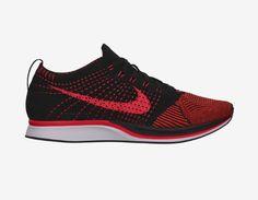 Nike Flyknit Racer in Black/Laser Crimson/Total Orange #nike