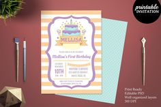 Birthday Girl Invitation Template by Incredible Prints on @creativemarket