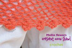 #Crochet: Mollie flowers crescent moon shawl! English subtitles video tutorial :)
