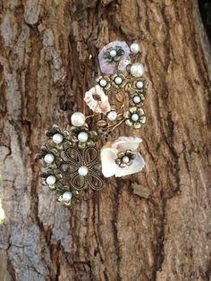Mermaid pearl headband brass circlete headpiece by MonalisaMAUI