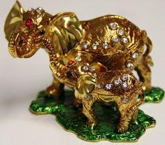 Elephant Mom & Baby Bejeweled Trinket Jewelry Box by Gift Square Trinket. $18.50