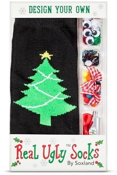 DAVCO Women's Real Ugly Holiday Boxed Socks - Make Your Own Christmas Tree