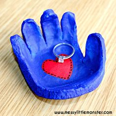 Salt dough hand shaped bowl gift idea for mothers day or valentines day.