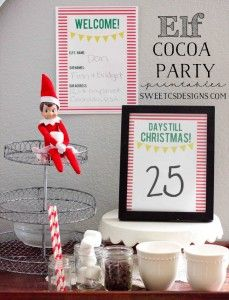 Welcome Elf Cocoa Party Printables at sweetcsdesigns - help your kids welcome home their elf with a cocoa party and Christmas countdown!