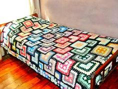 Brilliant way to use up leftovers.  I think this is the most unique afghan I have ever seen and  people will be guessing how this was made.
