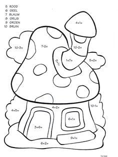 Werkblad rekenen: paddestoel Number Worksheets Kindergarten, Printable Preschool Worksheets, Preschool Math, Color Activities, Math Activities, Color By Numbers, Math For Kids, Decomposing Numbers, Youtube