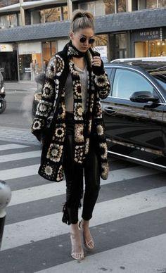 gigi-hadid-street-fashion-out- … Alexander Mcqueen Scarf, Plaid Scarf