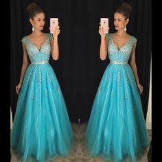 Moda turquesa vestido de noite longo 2016 nova v neck backless cristal frisado mulheres vestido formal para a festa de formatura vestido de festa em Vestidos de noite de Casamentos & Eventos no AliExpress.com | Alibaba Group