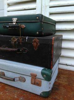 Oude Brocante Vintage Koffer Hout Zwart - Middelste Koffer