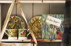 Birds & Leaves Set of 2 x 0.5 Pint Mugs and Set of 2 x 8.5 inch Plates 2014 (Discontinued)