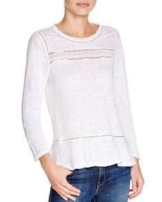 Rebecca Taylor Slub Knit Lace Trim Top