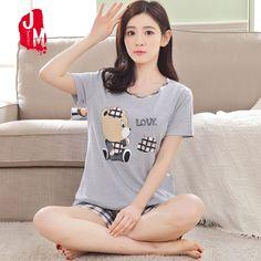 a85b43a633 Plus Size M-XXX Short Pants + Short Sleeve Tops Pajamas Sets 100% Cotton