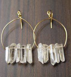 Crystal Quartz Cluster Earrings - 14k Gold Filled  I have similar ones like this that you gave me, Bailey!
