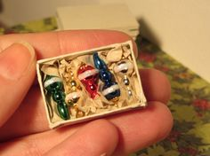 5 colorful Christmas Ornaments in  Box by MichaelasMiniaturen, €9.00