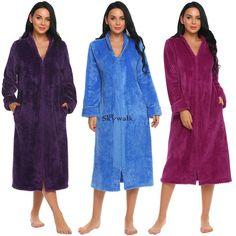 Women Men s Long Sleepwear Robes Shawl Collar Coral Fleece Bathrobe Spa  Pajamas  Bathrobe  Collar 9671b89fd