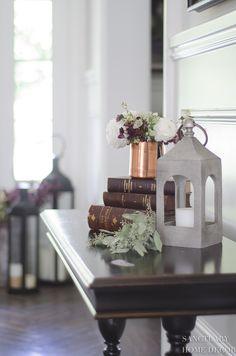 Neutral Fall Decor Essentials-Copper Fall Decor-Lanterns-Antique Books