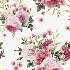 Flowers and leaves, watercolor, can be used as greeting card, invitation card for wedding, birthday and other holiday and summer background. : compre este vector en Shutterstock y encuentre otras imágenes. Vintage Flowers, Vintage Floral, Pink Flowers, Floral Rosa, Decoupage Vintage, Flower Invitation, Rose Wallpaper, Watercolor Rose, Floral Bouquets