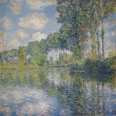 Claude Monet (1840-1926) Poplars on the Epte, France, 1891. -- This is a work from Monet's celebrated series of poplar paintings made the year after he settled in Giverny. He used a boat as a floating studio to capture the shimmering effects of sunlight on water. The poplars were ready to be sold for timber, but Monet, in partnership with a timber merchant, bought the property at auction so that he could continue to paint them. #impressionism #impressionist #Claude_Monet #Monet