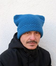 Items similar to Mens winter pussy hat 100% natural wool ECO Mens handmade pure  wool hat Mens tirquoise blue cat ear hat Pussy hat Chunky mens winter hat  on ... c1fcdb5af90b