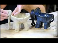 Legs of clay elephant demo starts at 1:05  Clay time with Liz: Project 2 - elephant ice cream bowl