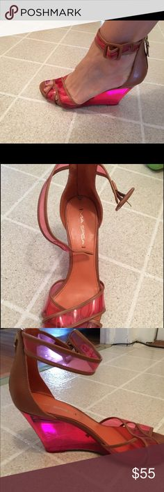 Via Spiga wedge with  lucite heels Tan via Spiga shoes with buckle side with zipper back and lucite pink wedge see thru wedge . Pink clear front as well . Tan trim worn once for a couple of hours . A tad scuff on exterior bottom sole excellent condition via spiga Shoes Wedges