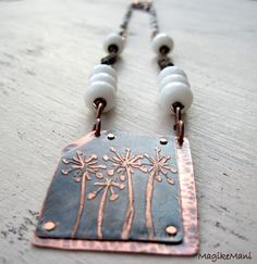 """Necklace """"Wildflowers"""": copper, etching, jade"""