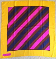 Vintage Yves Saint Laurent Silk Scarf - 1960s - Mod Yellow and Pink