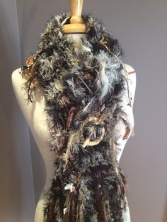 Fringed knit Fashion Scarf, 'Cosmo' Dumpster Diva, Hand Knit Fringed Scarf,cream scarf, black scarves, women, boho fashion, fringed scarves by RockPaperScissorsEtc on Etsy