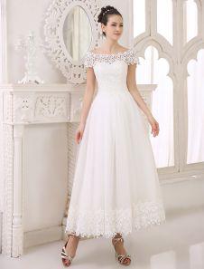 Vestido de novia de tul con escote barco y manga corta Milanoo