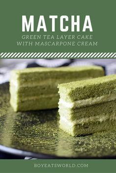 Light and airy Japanese style green tea sponge with a mascarpone twist